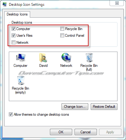 Remove icons from desktop