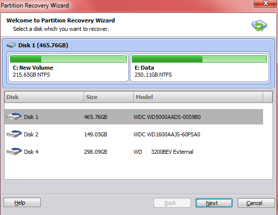 AOMEI partition recovery wizard