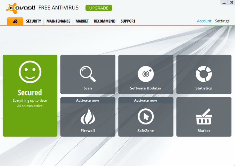 Avast 8 main interface