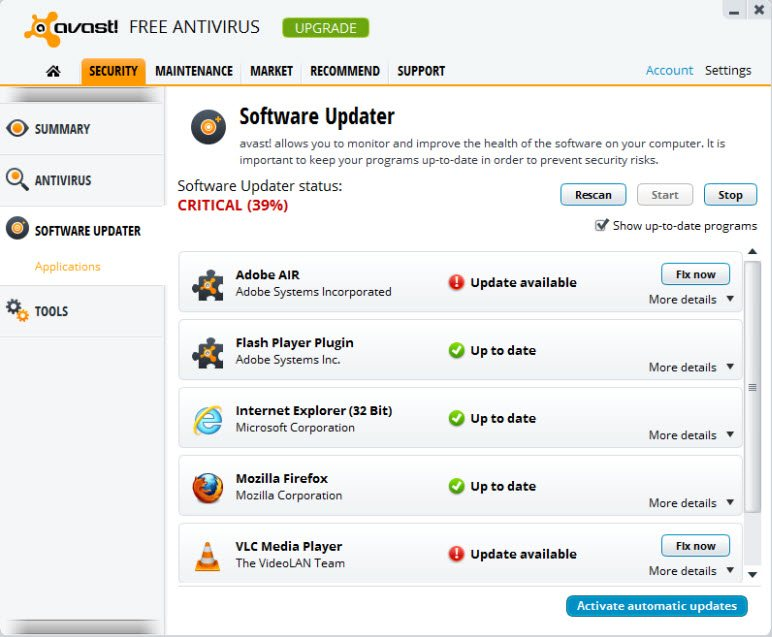 Avast 8 software updater