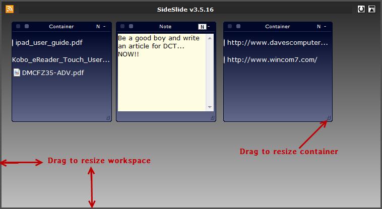 sideslide- new workspace