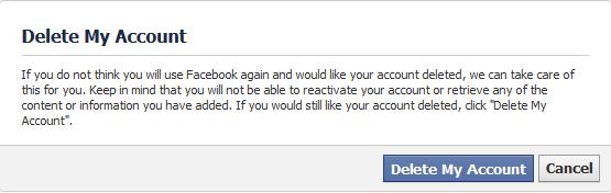 facebook - delete account