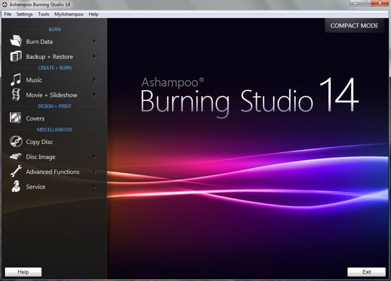 ashampoo burn studio 14 - main interface