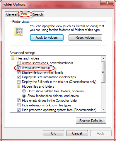 always show menus - win7 explorer
