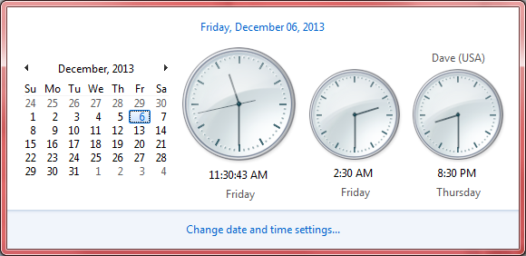 clock display - windows 7