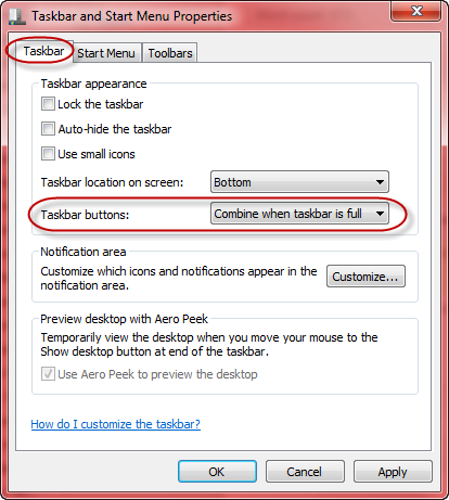 taskbar button options - win7