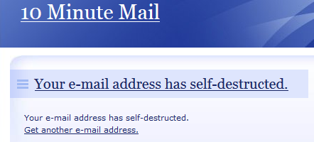 10 minute mail - self destruct