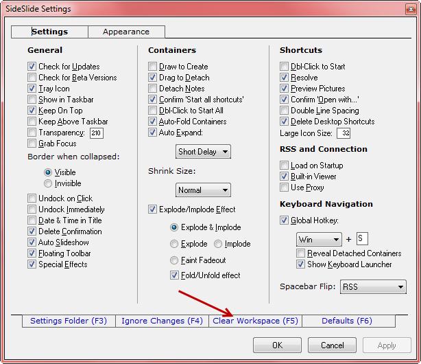 sideslide- settings - clear workspace