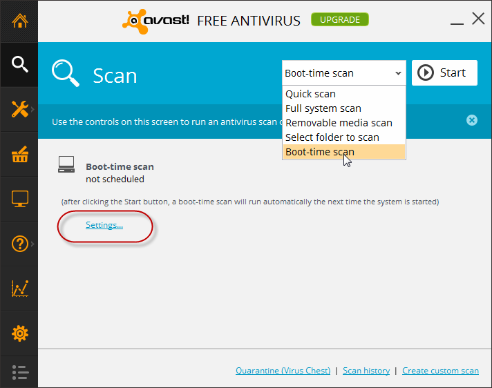 how to boot scan in avast