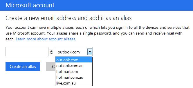 outlook - create an alias