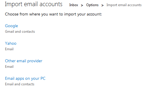 outlook - import account options