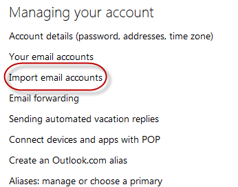 outlook - import email accounts