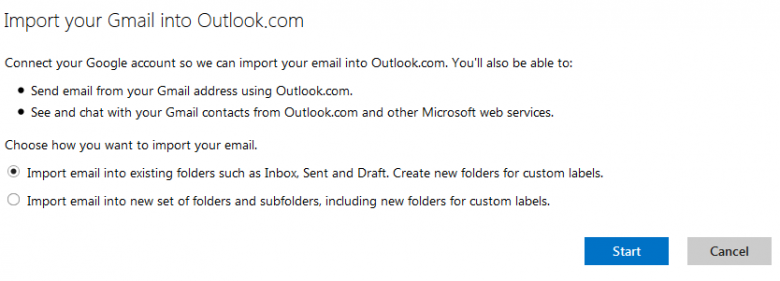 outlook - import gmail