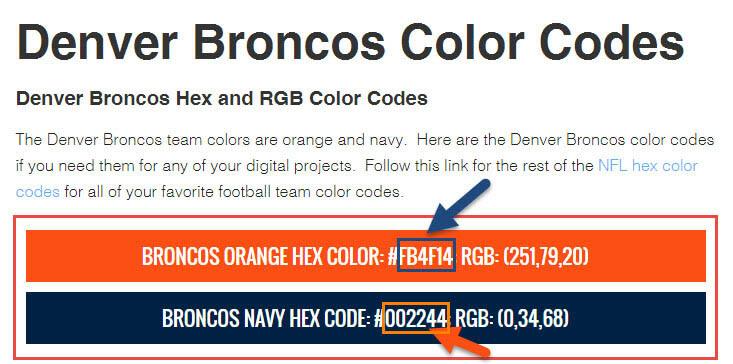 Pastel blue hex code mint teal navy and purple color for Denver broncos colors